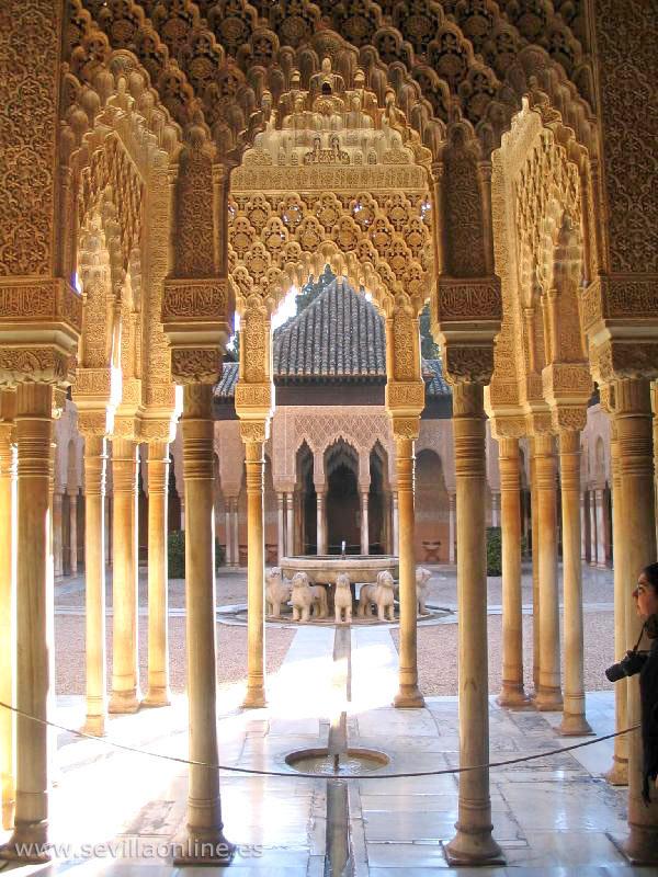 Alhambra Vista Al Patio De Los Leones Granada Andalusia Spagna