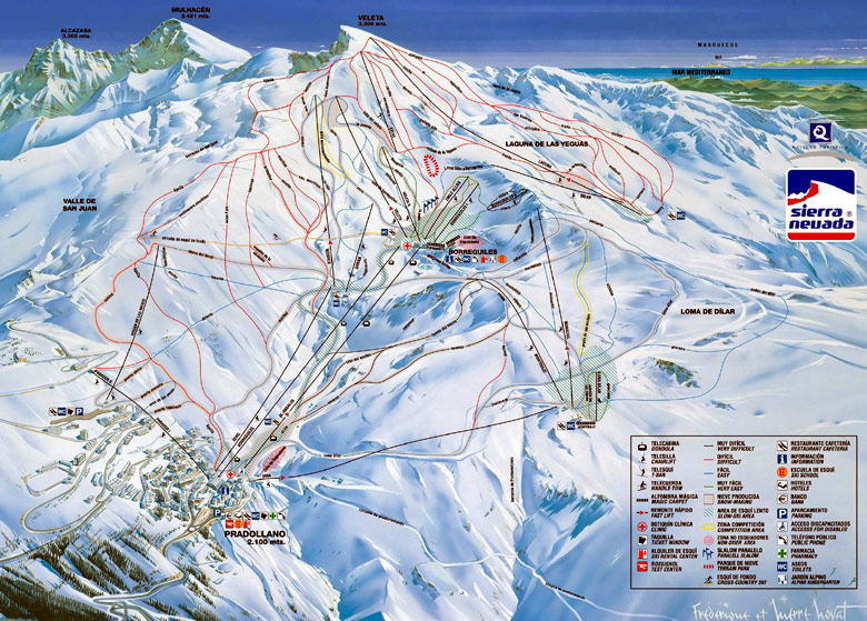 Sierra nevada esqu mapa de pistas de pradollano andaluc a espa a - Apartamentos baratos en sierra nevada ...