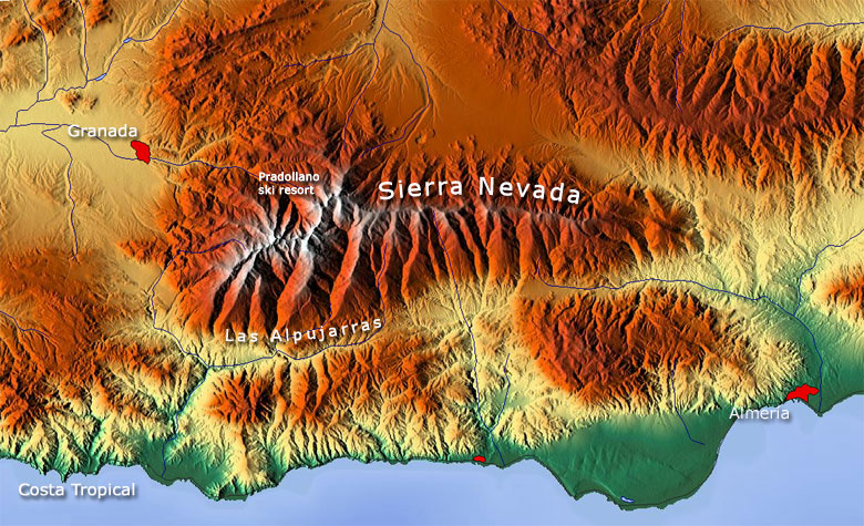 Karte Von Andalusien Spanien.Sierra Nevada Gebirge Karte Granada Andalusien Spanien