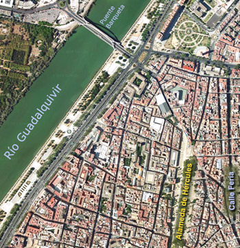 Satellite photo of the Alameda district for orientation, Seville