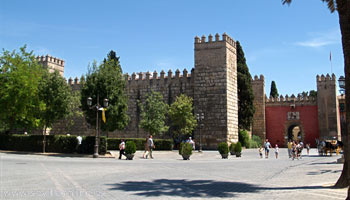 The Alcazar palace from the outside - Seville, Spain