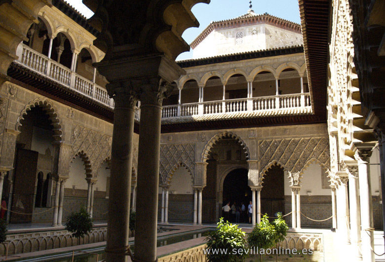 Just one of the many beautiful patios of the Alcazar palace in Seville - Andalusia, Spain.