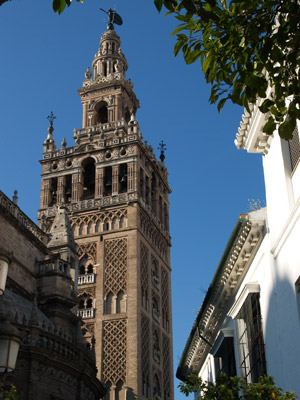 View of the Giralda tower in Sevilla - Seville, Spain.